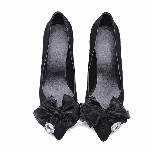 Mee Shoes Damen high heels mit Schleife Nubuck Pumps Schwarz