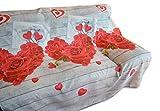 Centesimo Web Shop Telo ARREDO COPRITUTTO Multiuso Gran Foulard Copri Divano Copri Poltrona Shabby Rose Cuori - 260x260 cm Fantasia 4