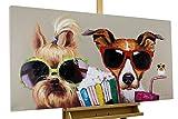KunstLoft® Acryl Gemälde 'Kiki, Jack und Matt' 120x60cm   original handgemalte Leinwand Bilder XXL   Hunde Vogel Bunt Brillen Lustig für Wohnzimmer   Wandbild Acrylbild moderne Kunst mit Rahmen