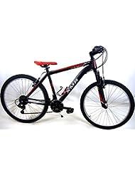 "'Fahrrad MTB Mountain Bike Stahl ""Kite Beach Shimano 18V–Farbe Schwarz/Rot"