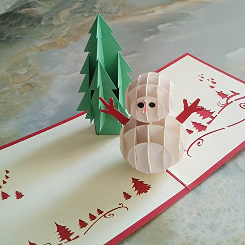 Tocoss (TM) 3D Pop Up main de No?l Bonhomme de neige Bonne annšŠe cartes de v?ux