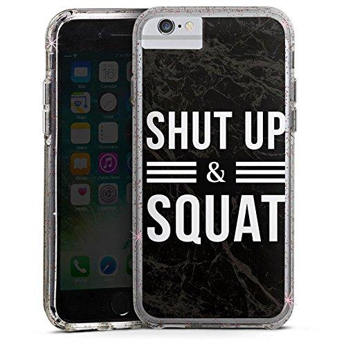 Apple iPhone 7 Bumper Hülle Bumper Case Glitzer Hülle Squat Fitness Statements Bumper Case Glitzer rose gold