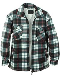 Herren Padded Check Print Sherpa Pelz gefüttert Lumber Jack Kragen Flanell gesteppte Hemd