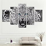 sunnymi Bild,Frameless Stitching Leinwand,Hängende Gemälde,Fashion Kunst Wall Art Print Canvas Picture,Zuhause Mauer Dekoration Wandbilder (Lebhafte Leoparden (Dünn), 30x40cm*2, 30x60cm*2,30x80cm*1)