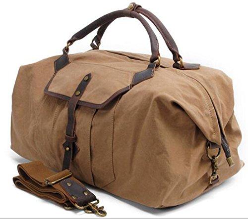 KISS GOLD (TM) Großräumige Reisetasche Tagesgepäck Schultertasche Handgepäck Canvas, Grau Khaki