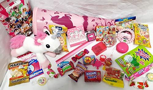 101608 Schultüte Einhorn 35cm gefüllt mit Plüsch Unicorn mit Sound Playmobil Zuckertüte mit Spielsachen & Schulbedarf Geschwistertüte
