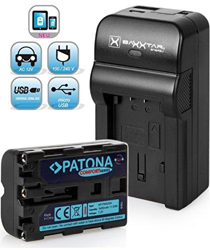 Baxxtar Razer 600 II Ladegerät 5in1 mit Patona Akku (1600mAh) - Ersatz für Sony NP-FM500H - USB-Ausgang zum Laden eines Drittgerätes (Smartphone usw)