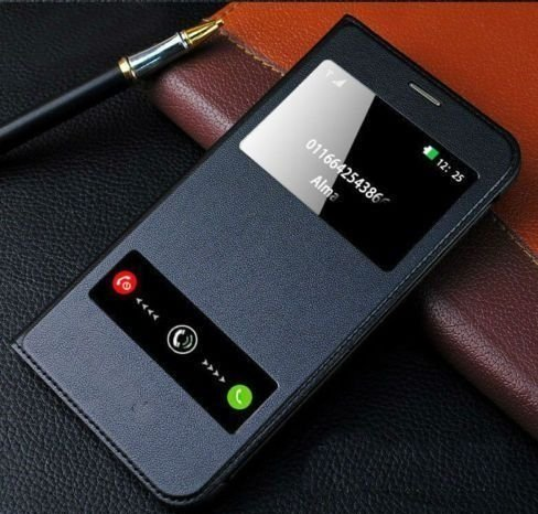 Helix Window Leather Premium Flip Cover for Samsung Galaxy On7 Pro Black
