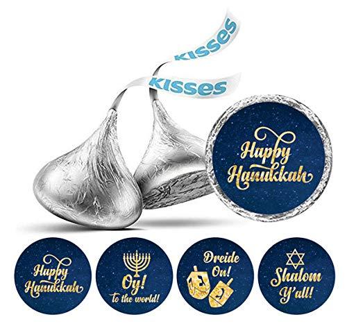 Darling Souvenir DIY Hanukkah Jewish Aufkleber 190 PC DIY Hershey Kisses Schokolade Labels-Marineblau & Gold