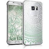 kwmobile Étui transparent élégant avec Design soleil indien pour Samsung Galaxy S7 edge en vert blanc transparent