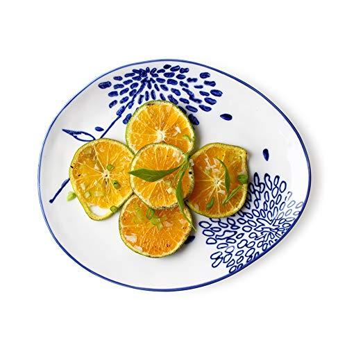 Fgslw piatto di frutta, stoviglie giapponesi di sushi creativo, piatto in ceramica per la colazione, piatto di insalata, piatto di bistecca per ristorante occidentale