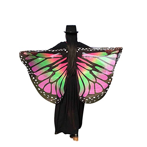 Preisvergleich Produktbild ZEELIY Karneval Fasching Halloween Parties Weiche Stoff Schmetterlingsflügel Schal Fairy Lady Nymphenelf Dress Accessories