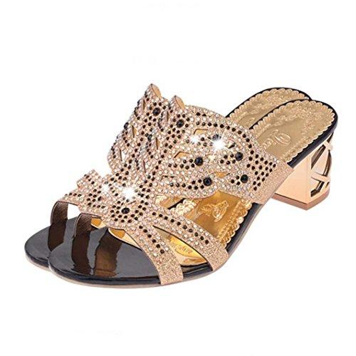 Estivi pantofole donna,witsaye eleganti donna scarpe tacchi alti strass sandali ciabatte pantofole da spiaggia ragazze infradito (nero, 36)