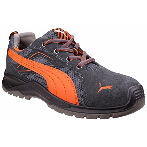 Puma Safety Footwear Mens Omni Flash Low Lace up S1 Safety Trainers Gris/Orange/Noir
