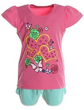 Kinder Mädchen Freizeit Kurzarm Shirt Jogging Hose Outfit 2tl Set Kleidung 20516