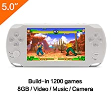 5 Inch LCD Screen 8GB 32Bit Retro Handheld Game Console Built-in 1200+no-repeat Games with MP4 MP5 Function Support FC/NES,SFC/SNES/GB/GBC/GBA/SMC/SMD/SEGA Video Games Console Support Ebook Camera Recording(White)