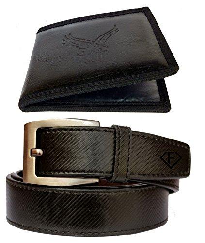 Discover Fashion Men Black Pu Leather Belt wallet combo of 2