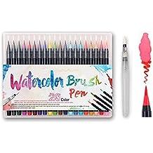 MIMINUO 20 Kit Rotulador Pincel -Punta de pincel real, flexible y suave, alta calidad, crea un efecto acuarela - Ideal para libros para colorear para adultos, manga, comic, caligrafía