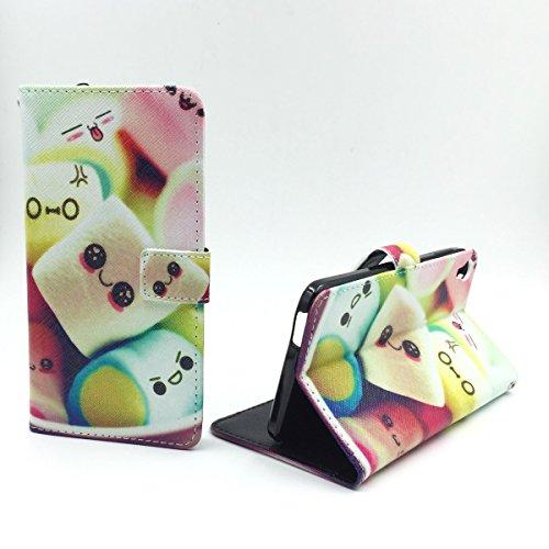 König-Shop Handy-Hülle für Alcatel One Touch Idol 3 5.5 Zoll Klapp-Hülle aus Kunst-Leder | Inklusive Panzer Schutz Glas 9H | Sturzsichere Flip-Case in Mehrfarbig | Im Marshmallow Motiv