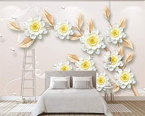 LHDLily 3D Wandbild Tapete Wallpaper Fresken Mural Benutzerdefiniertes Hintergrundbild Für Moderne 3D-Ästhetik Schmuck Blumen Tv Hintergrund Wand Wohnzimmer Schlafzimmer Hintergrund 3D Wllpaper 300cmX200cm