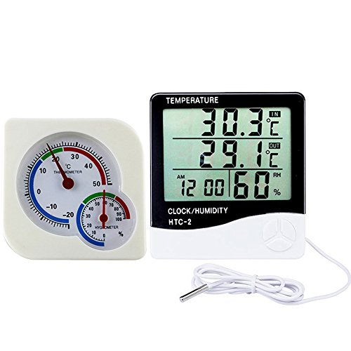szdealhola Set von 2 Kunststoff Digitales Thermo-Hygrometer Wecker und Mechanische Thermometer Hygrometer Indoor Outdoor