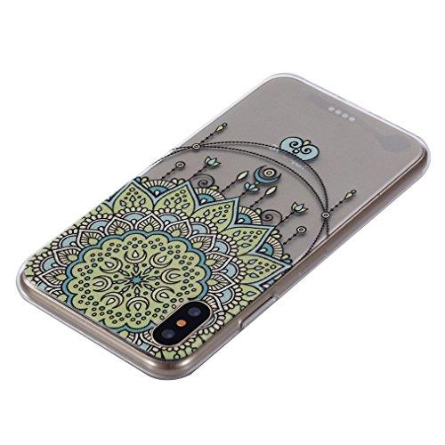 Cover iPhone X Morbido, Ronger Custodia Trasparente Stile TPU [Nuovo Modello] [Cristalli Liquidi] Cover del Telefono Mobile Ultra Sottile Slim Paraurti Silicone Resistente ai Graffi Antiurto Transpare Mandala Giallo