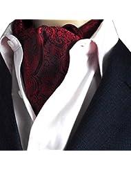 NiSeng Jacquard Ascot Paisley Corbatas Estrechas Ascot Corbata Vintage Ascot Cravat para Hombre Multicolor