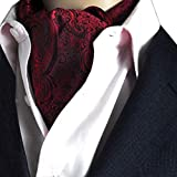 NiSeng Cravatta Ascot Paisley Jacquard Multicolore Cravatte da Cerimonia Cravatta da Uomo Ascot Accessories Vino Rosso#4
