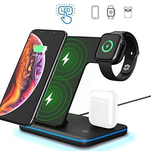 ZHIKE Caricabatterie Wireless 3 in 1, Supporto di Ricarica Wireless Apple iWatch Serie 5/4/3/2/1 e AirPods, Stazione di Ricarica...