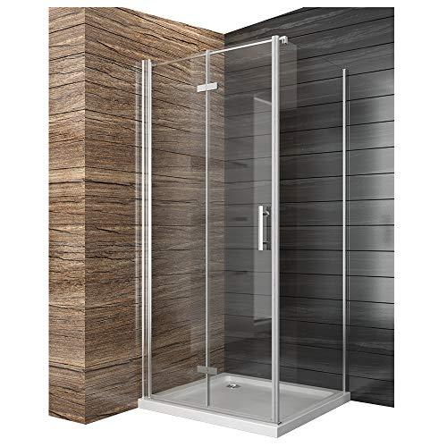 duschtrennwand eckeinstieg Duschkabine Falttür Duschabtrennung 100x80cm Eckeinstieg Duschtür Eckdusche Duschwand aus Sicherheitsglas