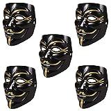 HAC24 5 Stück V wie Vendetta Maske schwarz | Anonymous Party Halloween Karneval Maske