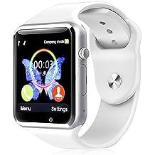 Reloj Inteligente Kivors con Bluetooth y Ranura para Tarjeta SIM para Usar Como Teléfono Móvil. Reloj Deportivo con Rastreador de Actividad, Podómetro Inteligente, Compatible Con Android (Blanco)
