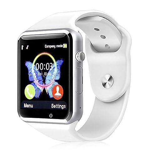 Kivors Bluetooth Smart Watch avec Sim Card Slot GSM Sport Watch Activity Tracker avec Podomètre Smart Santé Wrist Watch 1.54 Pouces Ecran Tactile Compatible pour Tous les Android Smartphone comme Samsung, HTC, Sony, Huawei (blanc)