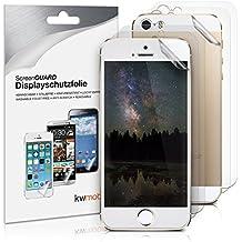 kwmobile 3x Lámina protectora de pantalla MATE y ANTIREFLECTANTE + 3x Lámina protectora de la parte trasera TRANSPARENTE para > Apple iPhone SE / 5 / 5S < - Calidad superior