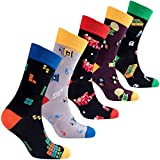 socks n socks-Hombre de 5 pares de lujo Divertido algodón Colorido Guay Vestido Calcetines Caja de regalo