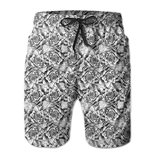 Water Lily Lotus Flower Pattern Men's Boardshorts Fashion Swim Trunks,Shorts Size M Lotus Flower Dress