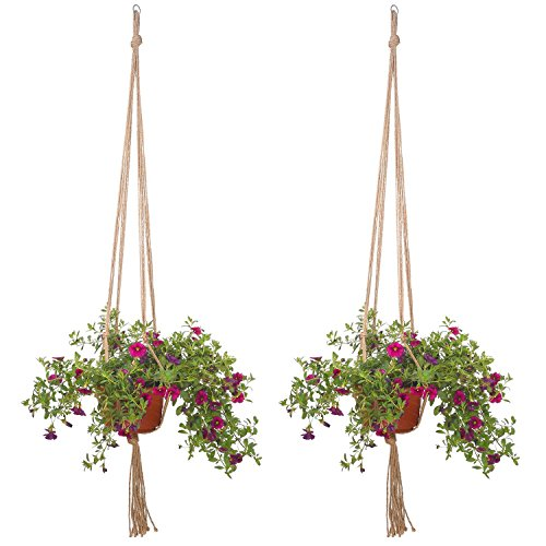 2x Chytaii Chaîne Filet en Jute de Suspension Plante Panier Pot de Fleurs Cintre Végétal Plant Hanger Holder