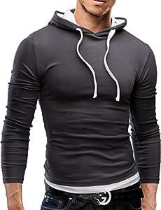 MERISH Sweatshirt Slim Fit Herren Langarm Hoodie Kapuzenpullover 06 Dunkelgrau M