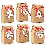 HOWAF 24 Pezzi Scatole Regalo di Natale, Sacchettini di Carta Kraft Natale scatole Regalo Natalizie per Caramella, Regali, cioccolatini, Biscotti, Alimenti, Dolci, Feste di Natale