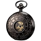 KS Unisex Mechanical Movement Skeleton Dial Retro Texture Pocket Watch