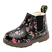 Anglewolf Children Fashion Boys Girls Sneaker Boots Autumn Winter Warm Thick Baby Kids Unisex Casual Floral Printing Zipper Up Shoes Leather Snow Shoes(Green-Cotton,UK:7.5)
