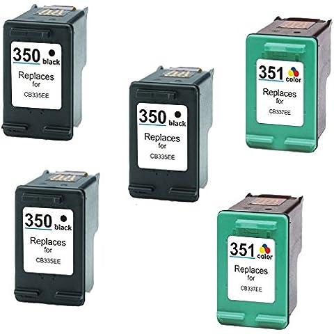 Prestige Cartridge HP 350XL / HP 351XL 5 Cartucce d'Inchiostro Compatibile per Stampanti HP DeskJet/Photosmart Serie, Nero/Colore - Serie 908