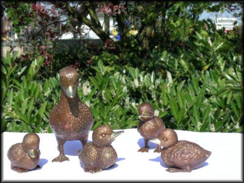 Entenfamilie aus Bronze 5-teilig