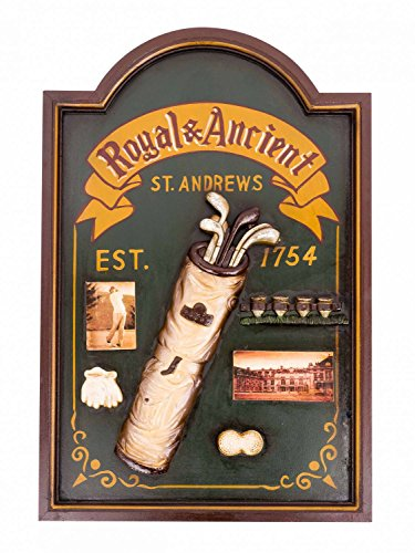 Holzbild Deko Bild Tafel Golf St. Andrews Nostalgie Wandbild Antik-Stil