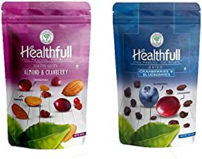 Healthfull Combo of Dried Cranberries Blueberry Mix, 200g & Roasted and Salted Almond Cranberry Mix, 200g (Combo Pack)