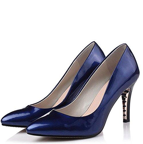 WSS chaussures à talon haut Astuce de fashion style Europe plating chaussures sexy à talons hauts talon couleur bonbon en cuir Blue