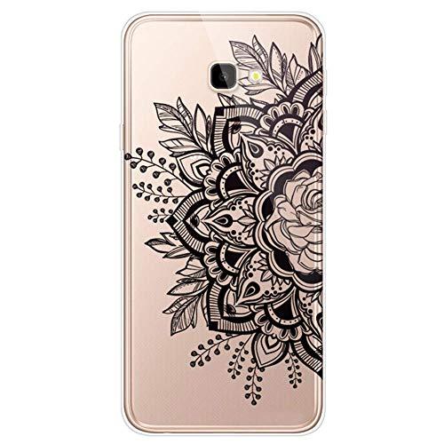 Uposao Kompatibel mit Samsung Galaxy J4 Plus 2018 Hülle Crystal Case Schutzhülle Hülle mit Muster Motiv Transparent TPU Silikon Durchsichtig Stoßfest Handyhülle Backcover Tasche,Schwarz Blumen