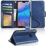 Arae Huawei P20 Lite Hülle, Handyhülle P20 Lite Tasche Leder Flip Cover Brieftasche Etui Schutzhülle für Huawei P20 Lite - Blau