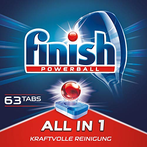 Finish All in 1 Spülmaschinentabs, Geschirrspültabs für kraftvolle Reinigung, Geschirrspülmittel, XXL Pack, 60 + 3 Tabs