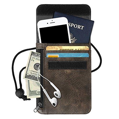 Fintie RFID-Blockierung Brustbeutel - Premium Kunstleder Passhülle Brusttasche Reisegeldbeutel Brustbeutel-Tasche für Maximale Sicherheit für Kreditkarten, Bargeld, Reisepässe, Roségold Himmelgrau